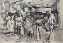 "Valentin Aleksandroh LISENKOV - Dessin-Aquarelle - ""Kolkhoz Cowshed"" by Valentin Lisenkov, 1960"
