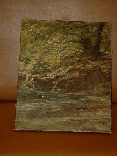 Georg HACKER - Painting - Bach im Laubwald mit altem Baum
