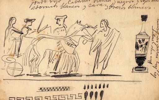 Ulpiano CHECA Y SANZ - Dibujo Acuarela - Archéologie -Pompéi-Pompeya -Rome