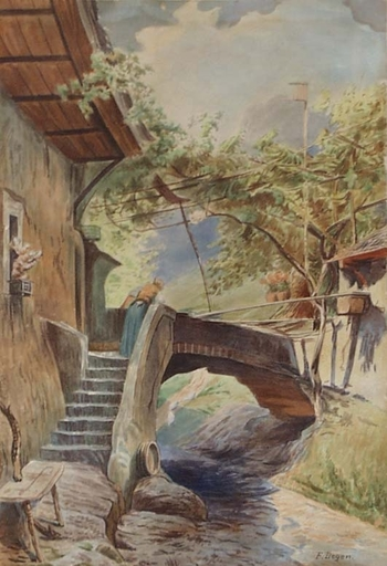"Franz DEGEN - Zeichnung Aquarell - ""In Bavarian Village"", Watercolor, early 20th century"