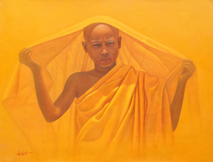 Aung Kyaw HTET - Painting - Monk in Yellow Robes