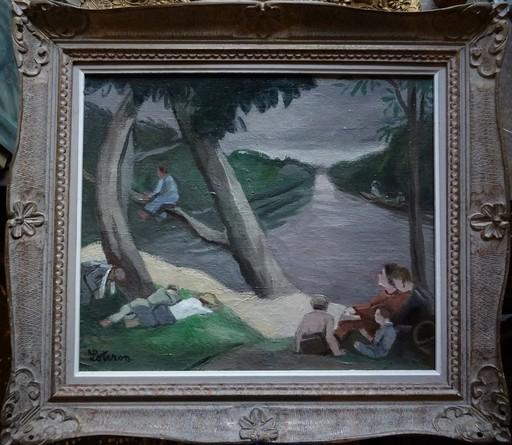 Robert LOTIRON - Painting - Bords de Marne animé