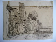 Auguste Victor FABRE - Drawing-Watercolor - LES REMPARTS D'ANTIBES