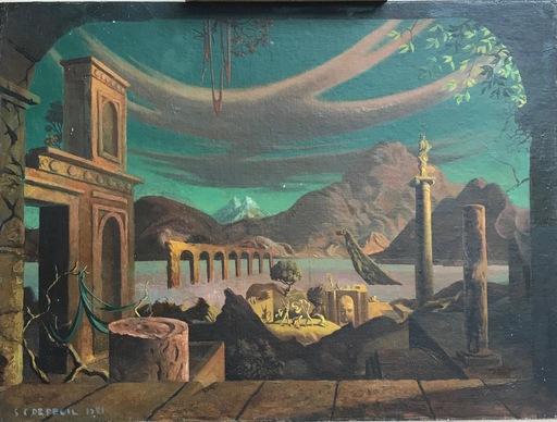 S.C. DE REGIL - Peinture - Figures in Surrealist Landscape with Hidden Faces