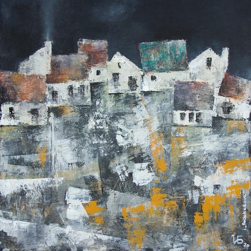 "Irina BOCHAROVA - Gemälde - abstract cityscape ""They don't sleep in one house"""
