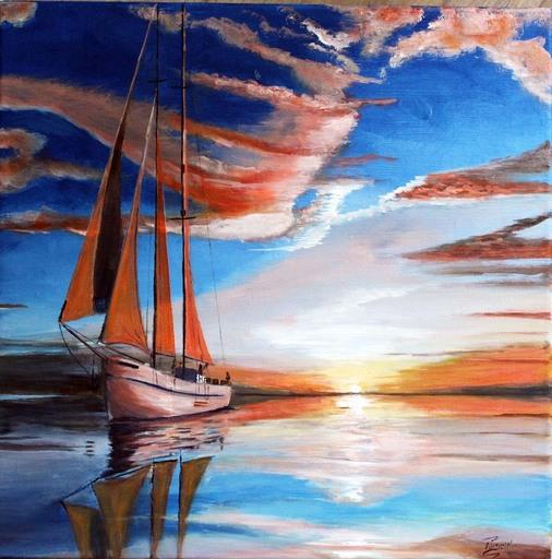 Jean PARRAUD - Peinture - Dernières lueurs en mer
