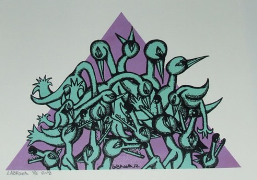 LABRONA - Print-Multiple - Lying in wait, purple and teals -2012