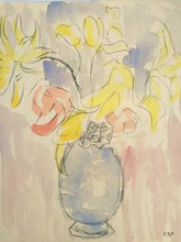 Louis VALTAT - Drawing-Watercolor - bouquet de fleurs