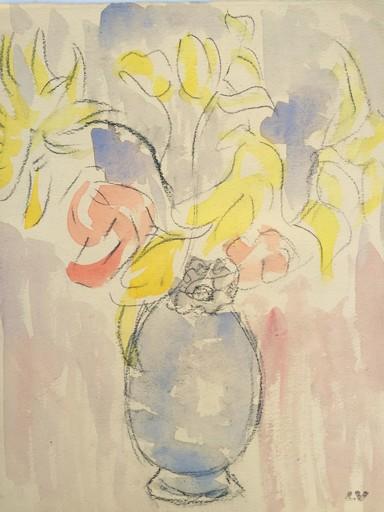 Louis VALTAT - Dessin-Aquarelle - bouquet de fleurs