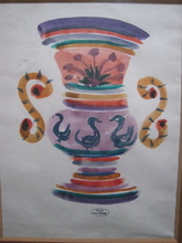 André DERAIN - Drawing-Watercolor - VASE AUX CYGNES