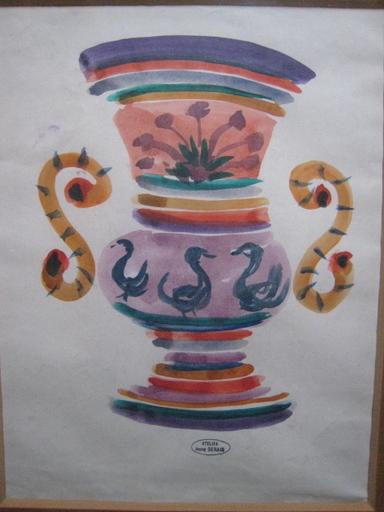 André DERAIN - Disegno Acquarello - VASE AUX CYGNES