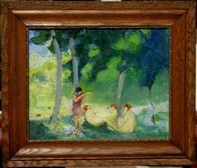 Jean DANIEL - Gemälde - BAIGNEUSES A LA RIVIERE