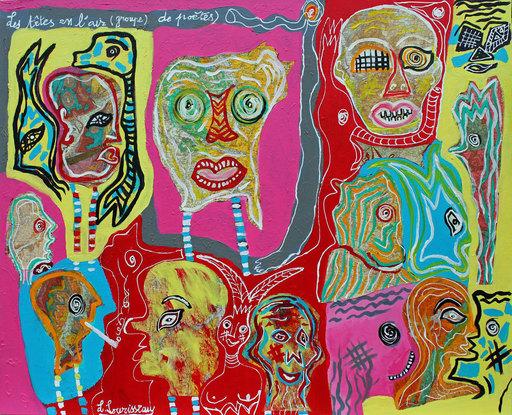 Lionel SOURISSEAU - Painting - Les têtes en l'air groupe de poètes
