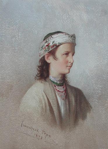 Franciszek TEPA - Drawing-Watercolor - Jeune Montagnarde des Environs de Truskawiec