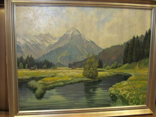 Robert SCHRAUDOLPH - Gemälde - Gebirgslandschaft mit Blumenwiesen vor Fluß.
