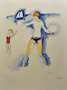 Kees VAN DONGEN - Stampa-Multiplo - Woman on the Beach, Trouville   Femme Sur la Plage, Trouvill