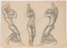 "Ferdinand OPITZ - Dibujo Acuarela - ""Projects for Art Deco sculptures"", 1920s"