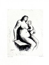 Henry MOORE - Stampa Multiplo - Mother And Child V