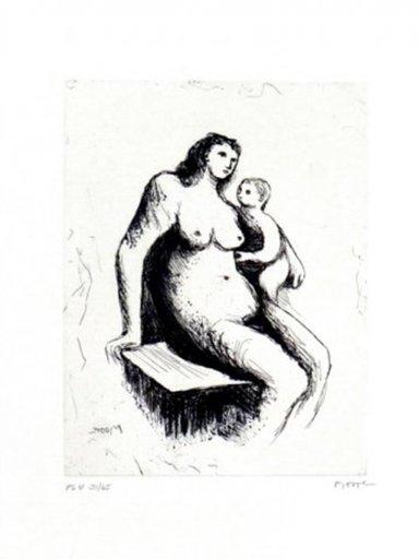 亨利•摩尔 - 版画 - Mother And Child V