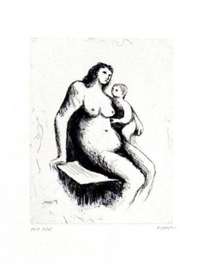 Henry MOORE - Estampe-Multiple - Mother And Child V