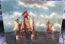 François Etienne MUSIN - Pintura - Barcos en el mar