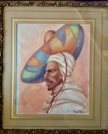 Roger ROY - Painting - arabe au grand chapeau
