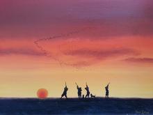 Fred ZELLER - Pittura - Les Chasseurs au passage des oies sauvages
