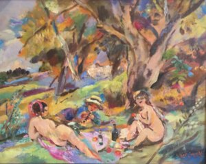 Ludwig KLIMEK - Painting - Pique-nique sur l'herbe