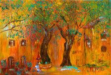Marie-France BUSSET - Peinture - PLACE SOUS les PLATANES