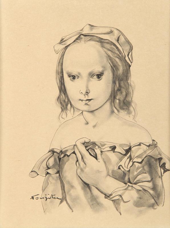 Tsuguharu FOUJITA - Drawing-Watercolor - Portrait de Jeune fille