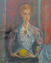Jacques CHAPIRO - Peinture - Woman Holding an Orange