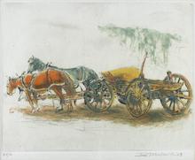 Ira MOSKOWITZ - Print-Multiple - Horses and Wagon