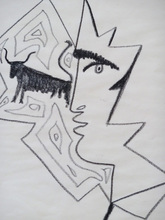 Jean COCTEAU - Drawing-Watercolor - Profile of a Man with a Bull
