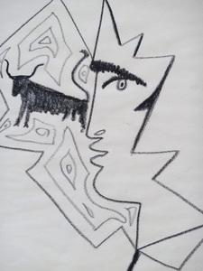 Jean COCTEAU - Dibujo Acuarela - Profile of a Man with a Bull