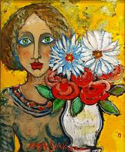 RAYA - Painting - JEUNE FILLE AUX YEUX VERTS