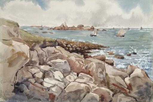 Alfred KELLER - Dibujo Acuarela - Quistillic - face ile de Groix - Bretagne - (KP23) -