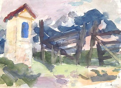 Erich HARTMANN - Disegno Acquarello - Weinberg bei Meran