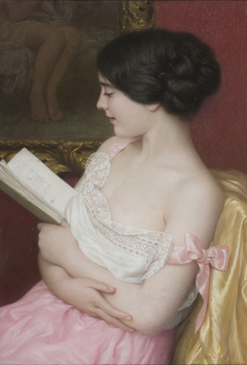 Giovanni CALDANA - Drawing-Watercolor - Giovane donna con libro