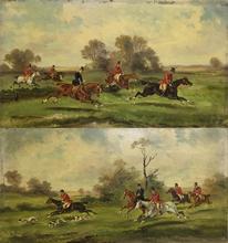 Alfred STEINACKER - Peinture - Dual painting of hunting scene