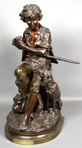Eugène Antoine AIZELIN - Skulptur Volumen - Sheperd and Dog
