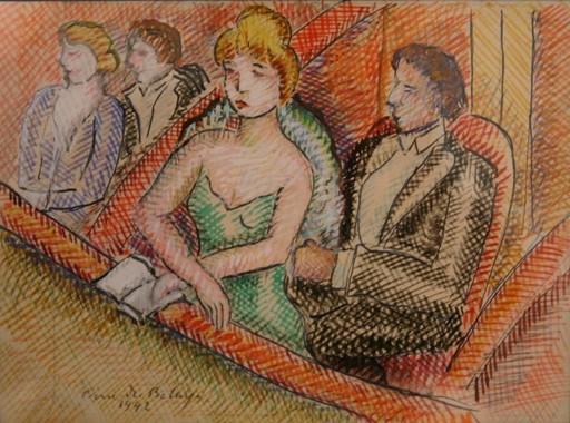 Pierre DE BELAY - Disegno Acquarello - Dans la loge