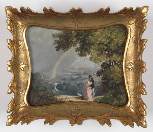 "Hans Johann HAAG - Miniatura - ""Rainbow Observing"", Oil Miniature on Alabaster, 1873"