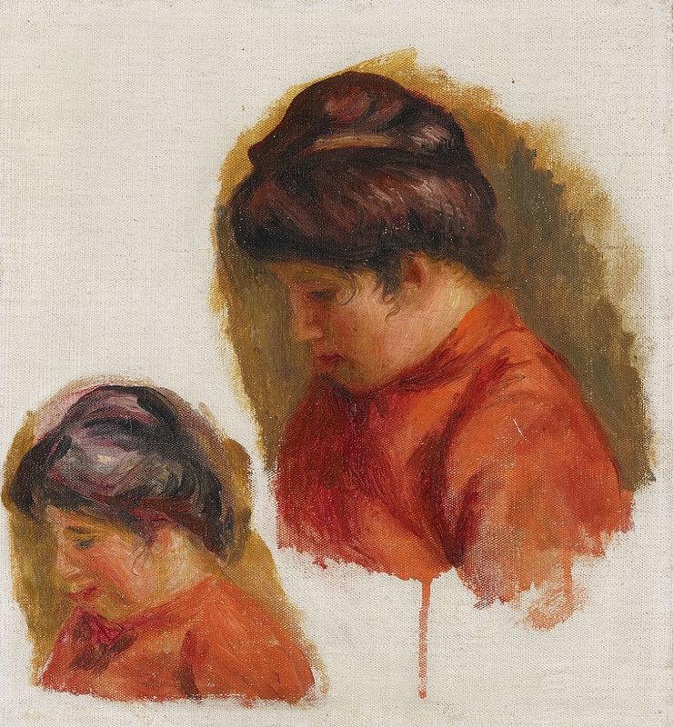 Pierre-Auguste RENOIR - Painting - Femme au corsage rouge ou Gabrielle en rouge