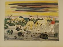 Yves BRAYER - Print-Multiple - coucher de soleil en Camargue,1962.