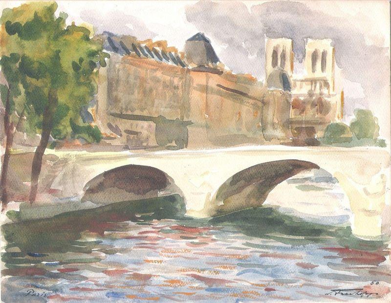 Leonide FRECHKOP - Drawing-Watercolor - VENDU:NOTRE DAME DE PARIS