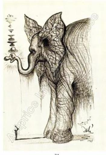 Salvador DALI - Drawing-Watercolor - Elephant