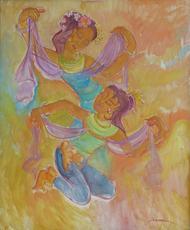 Theo MEIER - Peinture - Zwei balinesische Tänzerinnen