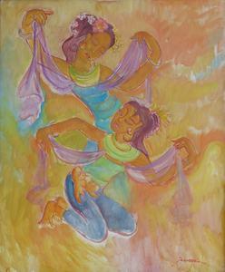 Theo MEIER - Painting - Zwei balinesische Tänzerinnen