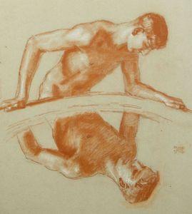 Franz VON STUCK - Zeichnung Aquarell - Der Narziss / Narcissus