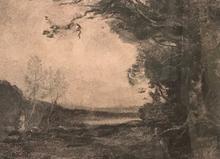 Camille Jean-Baptiste COROT - Dessin-Aquarelle - Paysage animé